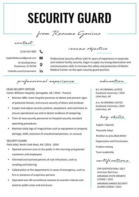 security guard resume sample writing tips resume genius
