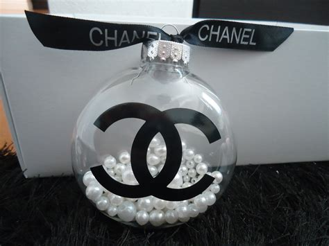 chanel inspired clear christmas tree ornament  pearls