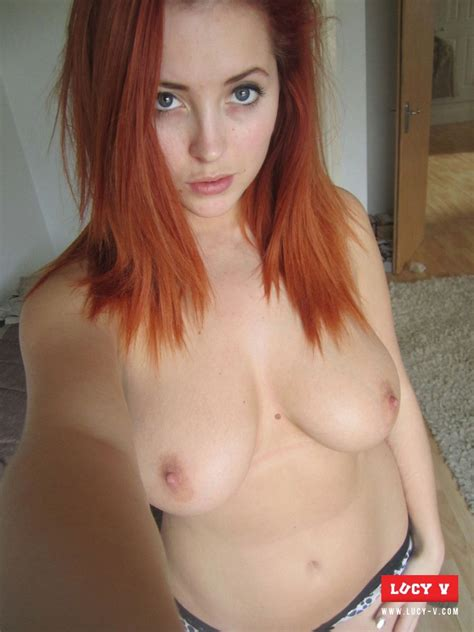 Lucy V Jeans Selfie Sexy Naked Redhead