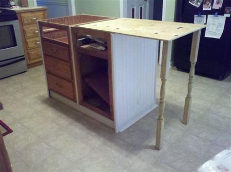 kitchen island buffet base cabinets repurposed to kitchen island hometalk
