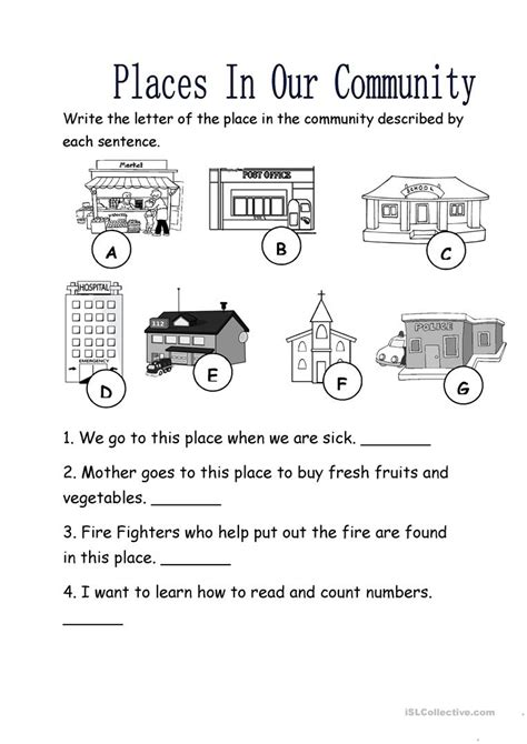 places in our community worksheet free esl printable