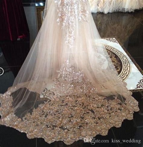 Sequins Luxury Cathedral Bridal Veils Appliques Lace Edge