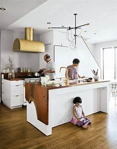 Plan De Travail Ilot : cuisine blanche plan de travail bois inspirations de d co ~ Premium-room.com Idées de Décoration
