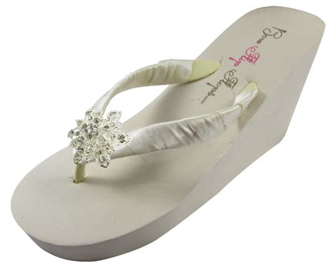 Ivory Wedge Vintage Rhinestone Embellishment Wedding Flip