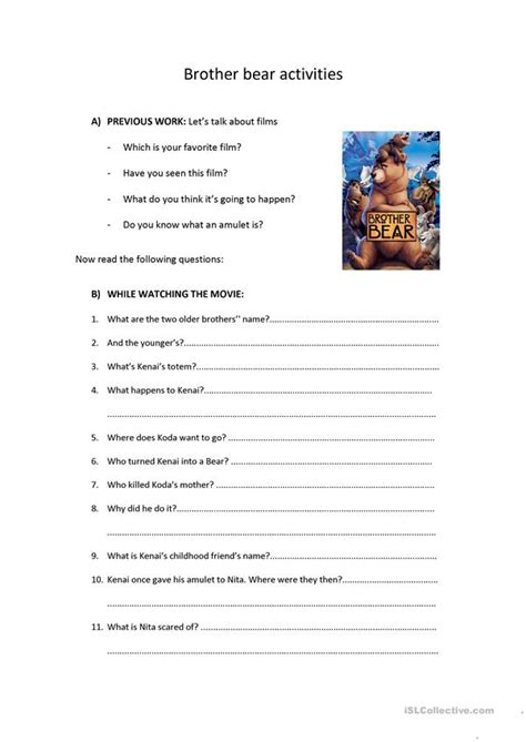 brother bear activities film comprehension worksheet