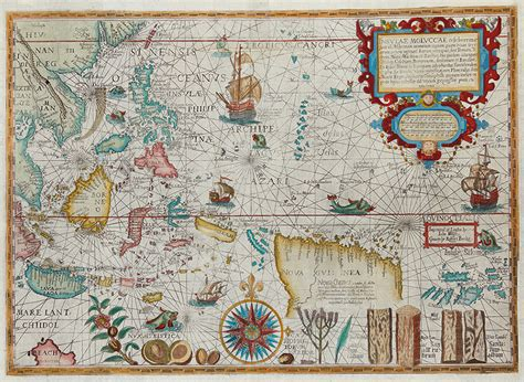 antique map   moluccas  plancius  bartele