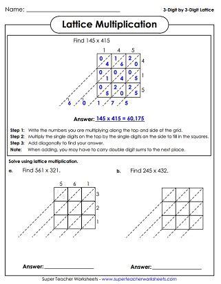 Lattice Method Multiplication Worksheets  Gialdini Worksheets