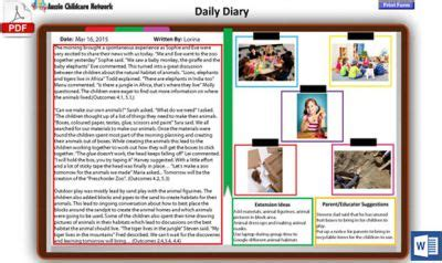daily diary template   aussie childcare