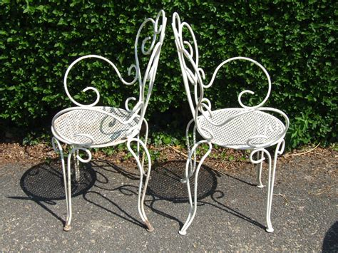 g099 s pair vintage wrought iron garden patio
