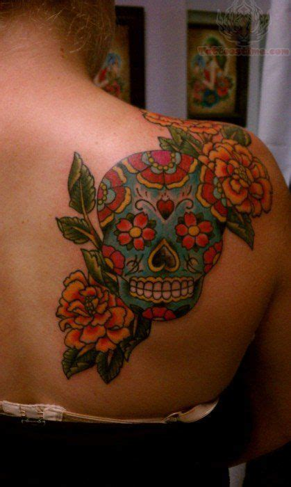 sugar skull  shoulder tattoo placement   love