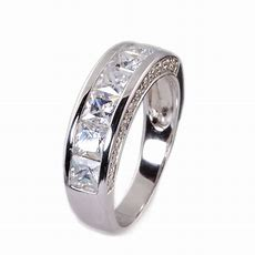 Mens Sterling Silver Cz Wedding Band Ring Size 713  Ebay