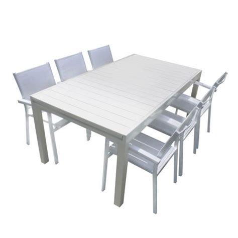 salon de jardin aluminium pas cher squareline salon de jardin aluminium et composite blanc 1 table extensible 180 280cm