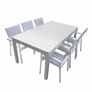Table De Jardin Extensible Pas Cher : squareline salon de jardin aluminium et composite blanc ~ Dailycaller-alerts.com Idées de Décoration