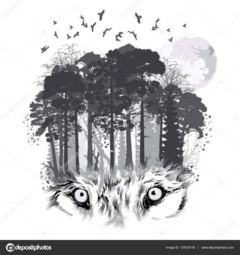 wolf silhouette  forest background stock vector