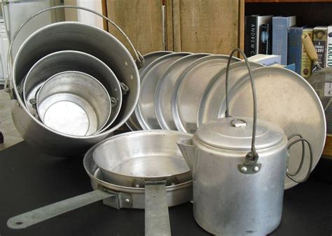 sold vintage aluminum camping cookware nesting cook set mess kit camp fire  piece