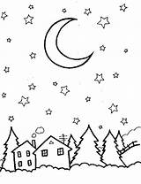 Sky Night Coloring Pages Colouring Drawing Outline Star Skies Stars Printable Familycorner Outlines Drawings Owl Books Results sketch template