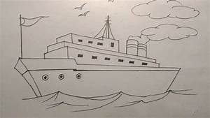 How to draw a ship step by step tutorial for kids - YouTube