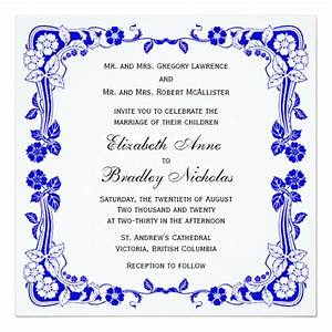 Elegant floral border royal blue 525quot wedding invitation for Wedding invitation royal blue border
