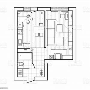 Apartment, Plan, Witch, Furniture, Thin, Line, Interior, Design, Set, Top, View, Vector, Illustration, Stock