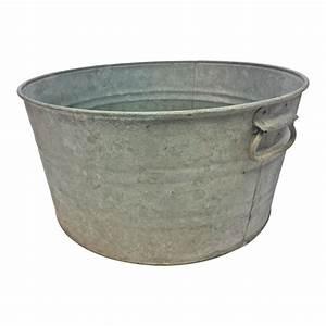 Vintage, Country, Galvanized, Round, Metal, Wash, Tub