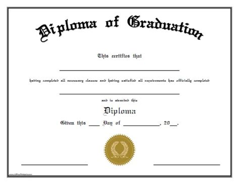 High School Diploma Templates For Free by Diploma Of Graduation Free Printable Allfreeprintable