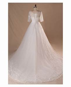 Modest v neck and short sleeve long white plus size for Short white wedding dress with sleeves