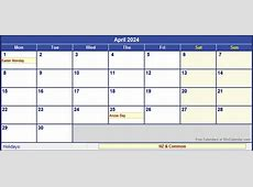 April 2024 New Zealand Calendar with Holidays for printing