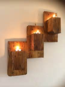 Handmade Kitchen Furniture Pallet Wall Mounted Candle Holders