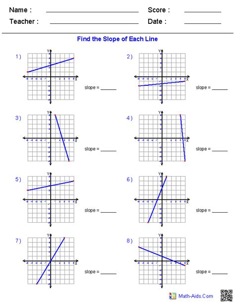 Algebra 1 Worksheets  Linear Equations Worksheets