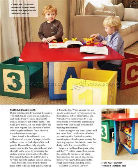 childrens table  chairs plans woodarchivist