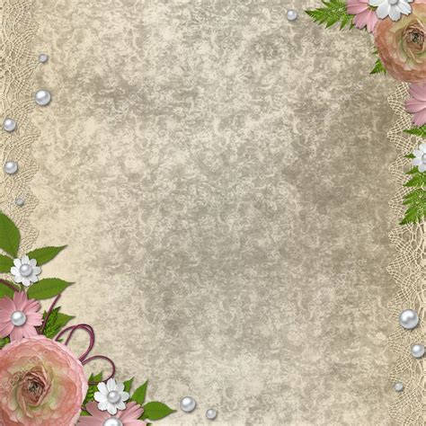 vintage beige background  pink roses pearls  lace