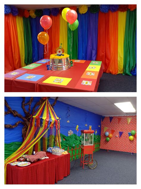carnival  circus theme party backdrop tables