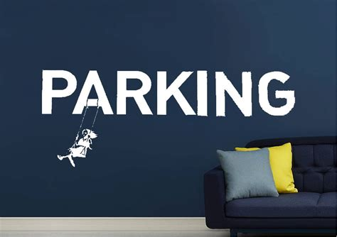 park  parking banksy wall stickers adhesive wall sticker
