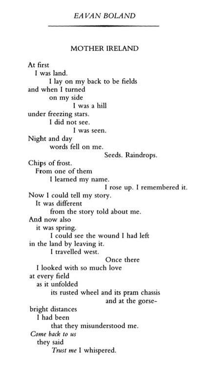 eavan boland poetry october  poem   pocket