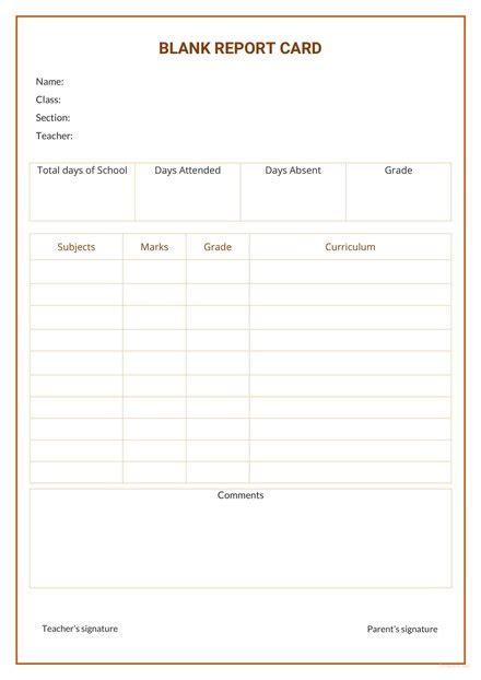 blank report card template  microsoft word