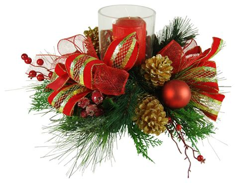 faux floral christmas candle centerpiece traditional