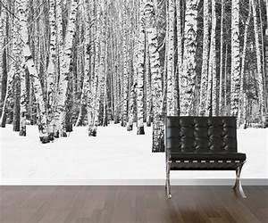 Papier Peint Repositionnable : bouleau papier peint arbre repositionnable peler et coller ~ Zukunftsfamilie.com Idées de Décoration