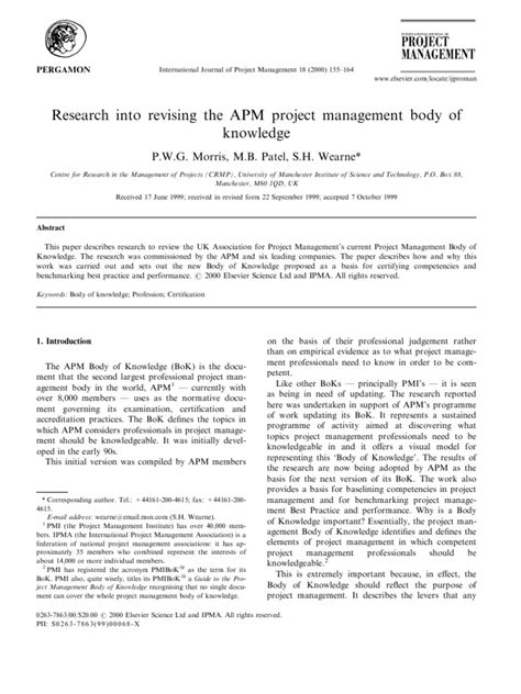 Research Into Revising the APM Project Management Body of