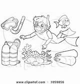 Scuba Coloring Snorkel Gear Collage Illustration Mask Outlines Digital Diving Visekart Royalty Vector Clip Snorkeling Pages Clipart Oxygen Template Illustrations sketch template