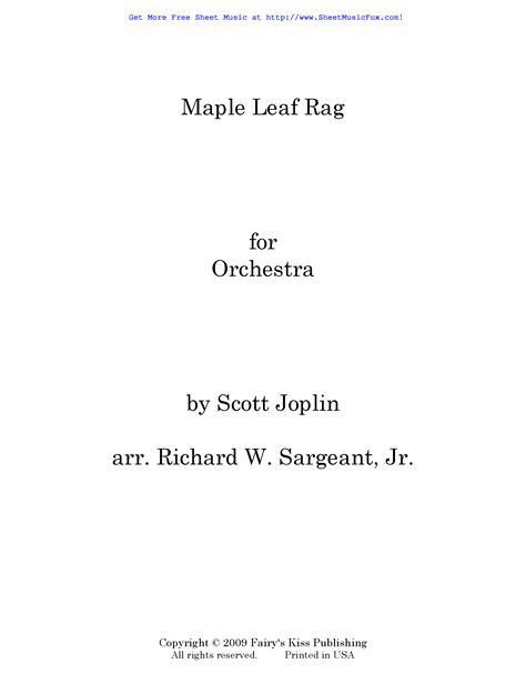 The maple leaf rag is associated with the city of sedalia, missouri. Free sheet music for Maple Leaf Rag (Joplin, Scott) by ...