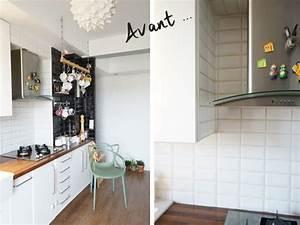 les avis de 6 blogueuses deco sur le carrelage adhesif With carrelage adhesif salle de bain avec meuble cuisine led