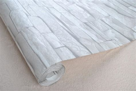grey white embossed brick wall wallpaper roll textured