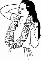 Lei Hawaiian Drawing Clipart Luau Transparent Psf Wearing  Aloha Garland Line Necklace Flowers Woman Monoi Oil Hair Commons Cliparts sketch template