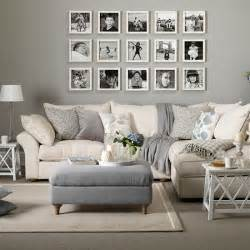 grey and taupe living room with photo display decorating housetohome co uk