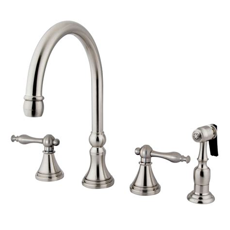 kingston kitchen faucets kingston brass ks2798nlbs governor 8 quot deck mount kitchen faucet with brass sprayer satin nickel