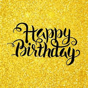 Happy Birthday Lettering over Gold Glitter Vector