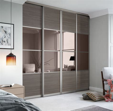 Wardrobe Closet With Mirror Doors by Signature 4 Panel Sliding Wardrobe Doors In Wood And