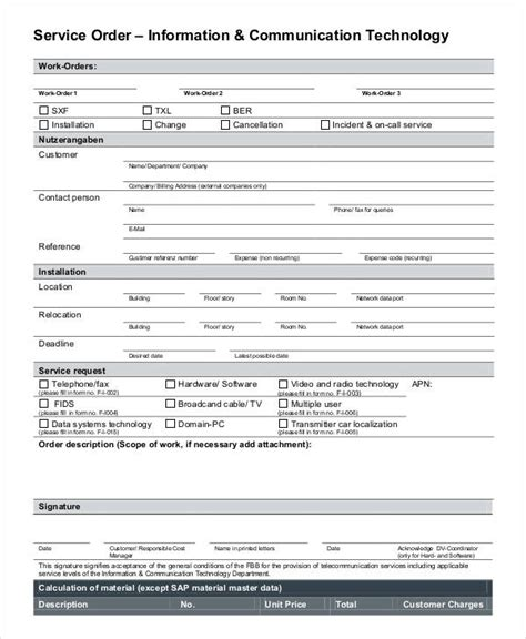 service order forms