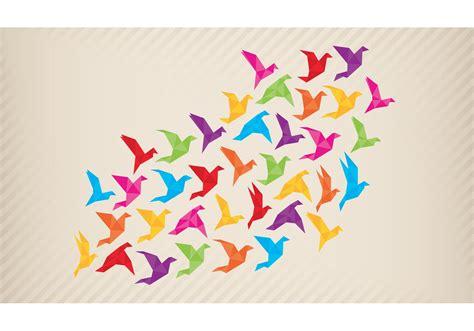 origami flock  birds vector   vectors