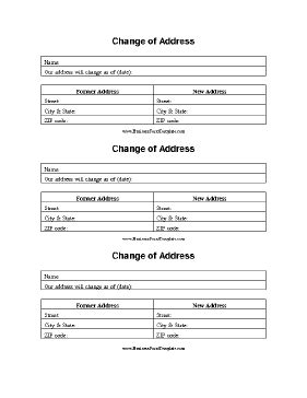change of address template change of address form template